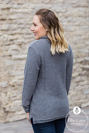 Boyfriend Pullover Sweater - Charcoal
