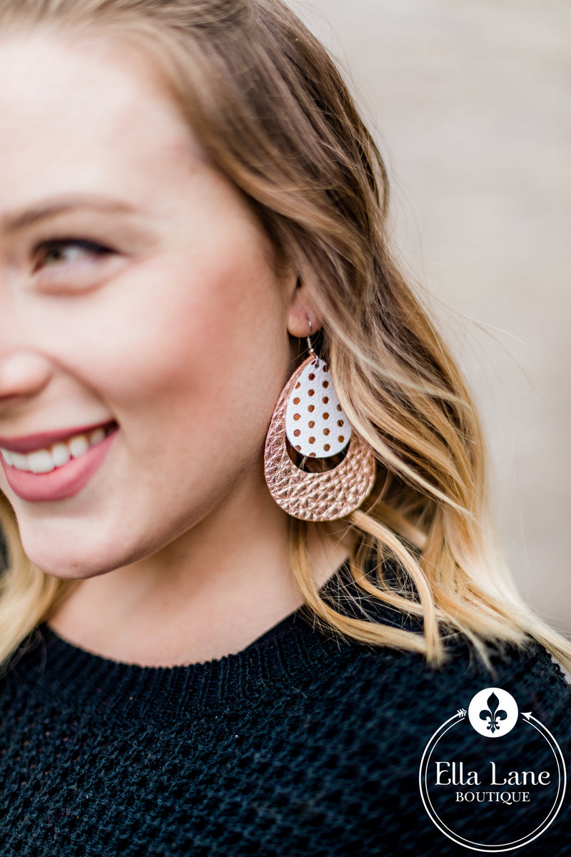 Rose Gold Polka Dot and Metallic Hoop Earrings