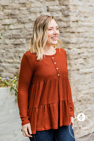 Brick Red Henley Babydoll Top FINAL SALE