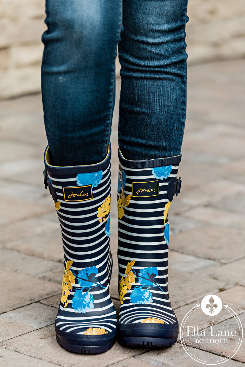 Navy Stripe and Floral Rain Boots