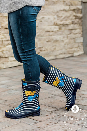 Navy Stripe and Floral Rain Boots FINAL SALE