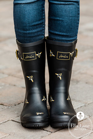 Black Metallic Bee Rain Boots