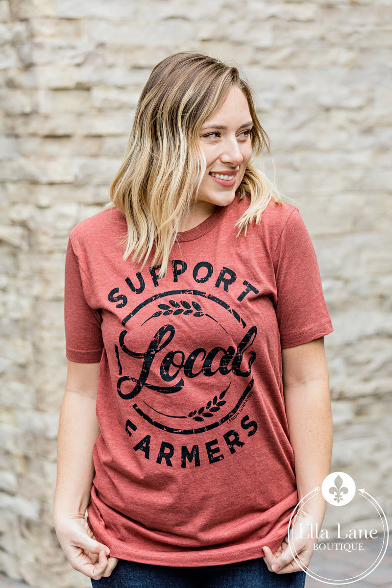 Support Local Farmers Tee - Heather Clay