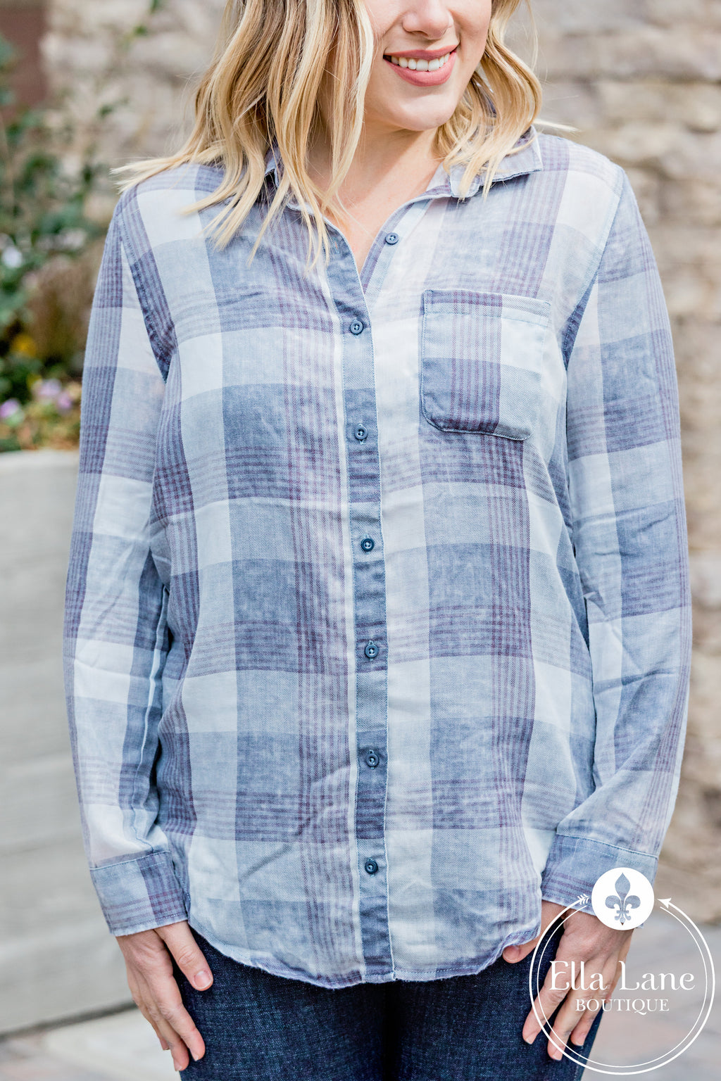 Burnout Plaid Button Down Top