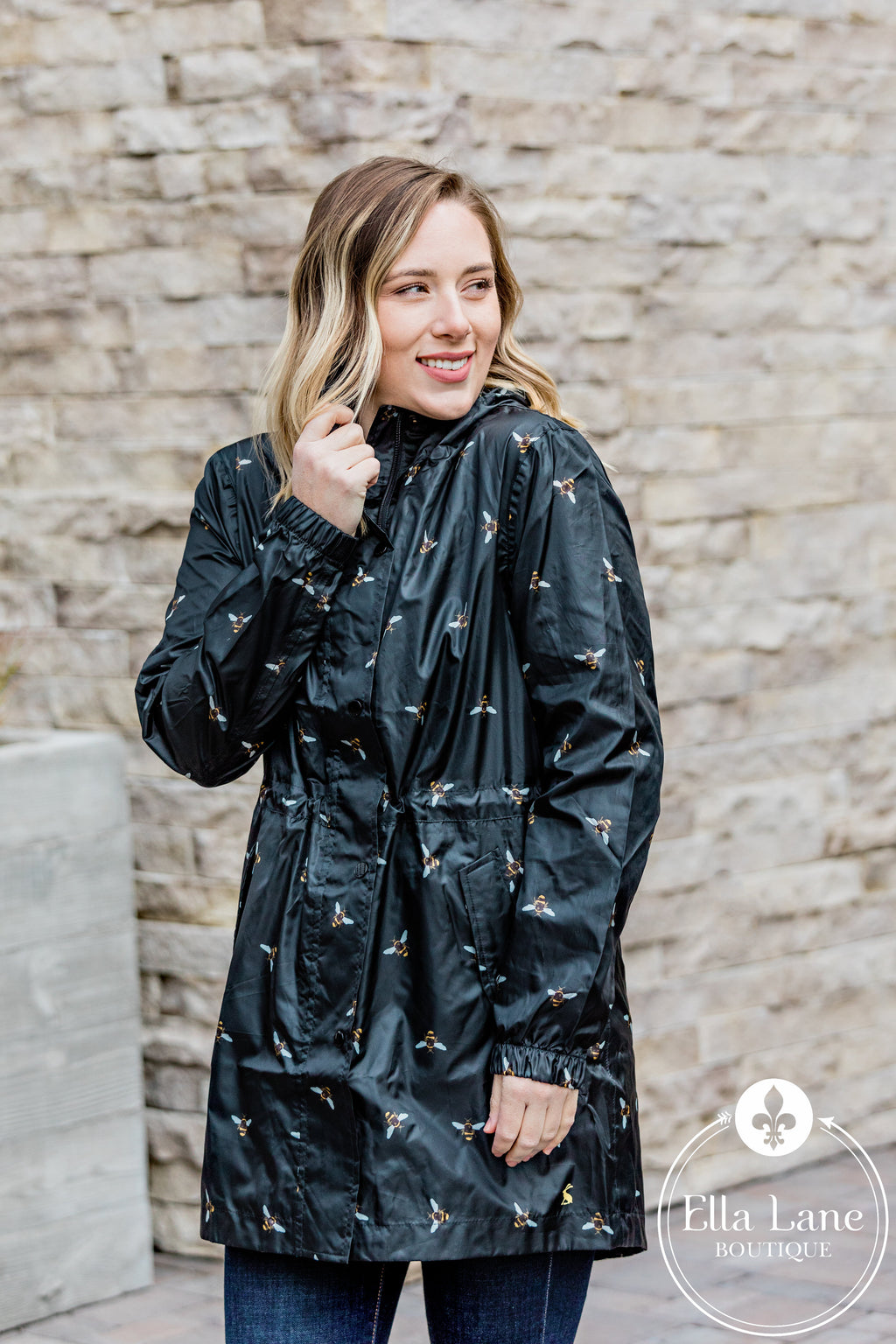 Black Bee Rain Coat FINAL SALE