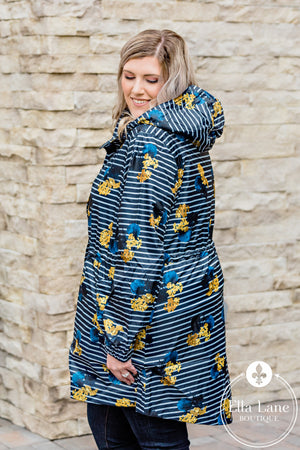 Navy Floral and Stripes Rain Coat