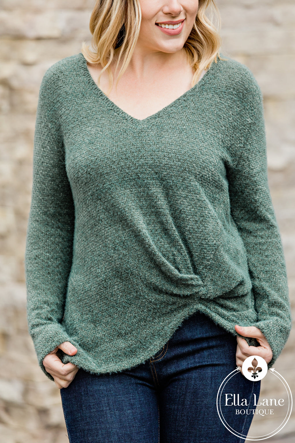 Mandy Twist Top - Olive