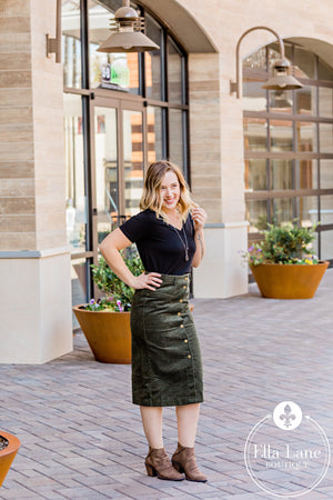 Long Corduroy Button Skirt - Dark Olive FINAL SALE