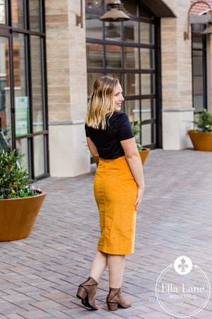 Long Corduroy Button Skirt - Mustard FINAL SALE