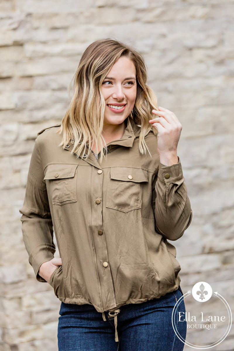 Bethany Blouse Top - Olive FINAL SALE