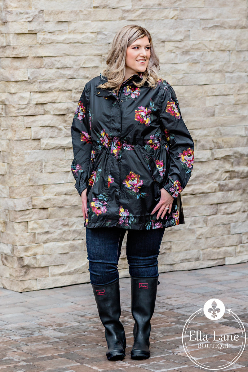 Black Floral Rain Coat FINAL SALE