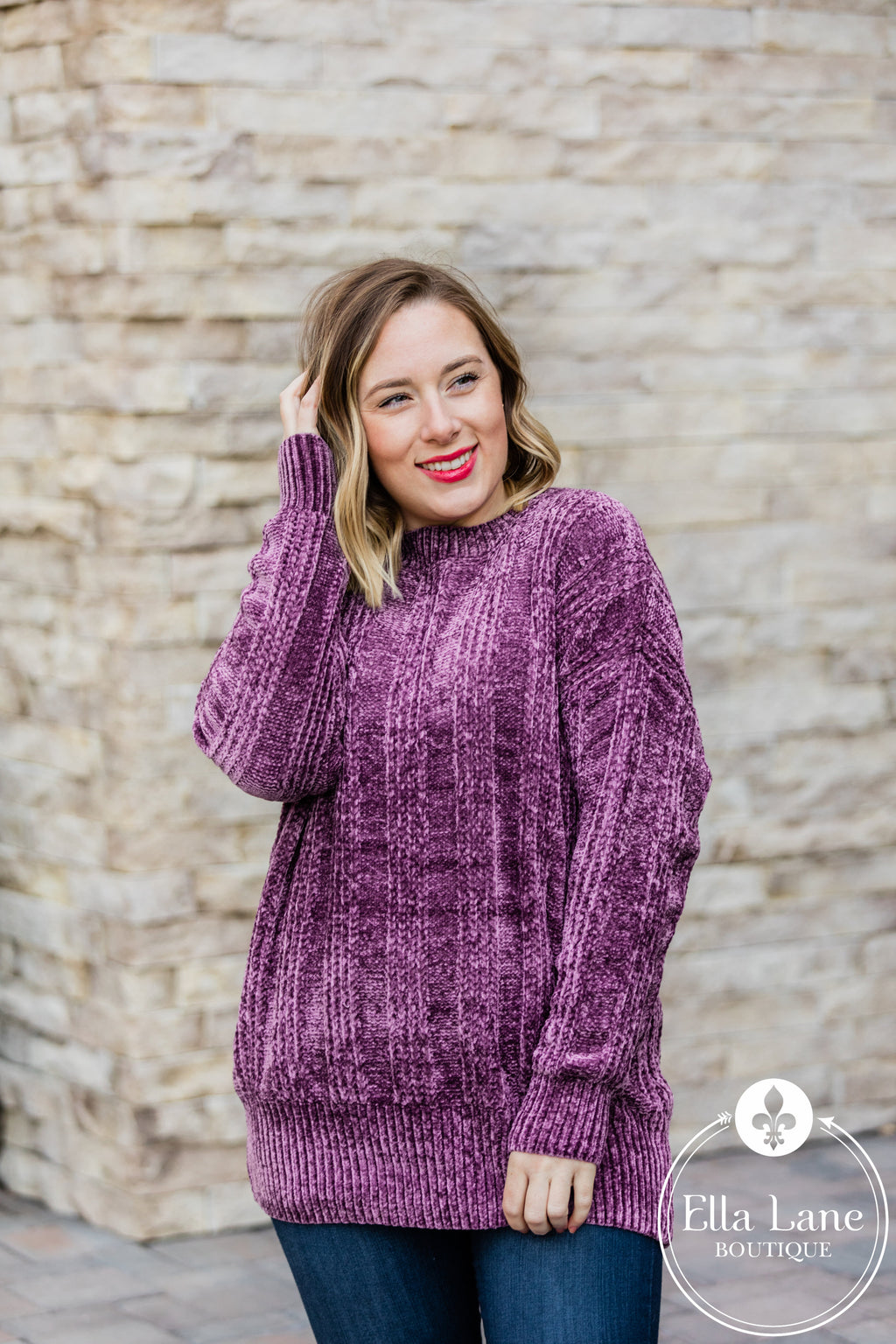 Chenille Sweater - Eggplant FINAL SALE