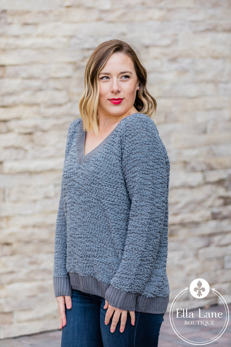 Dark Grey Popcorn Sweater