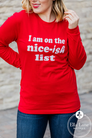 Nice-ish List Long Sleeve Tee - Red