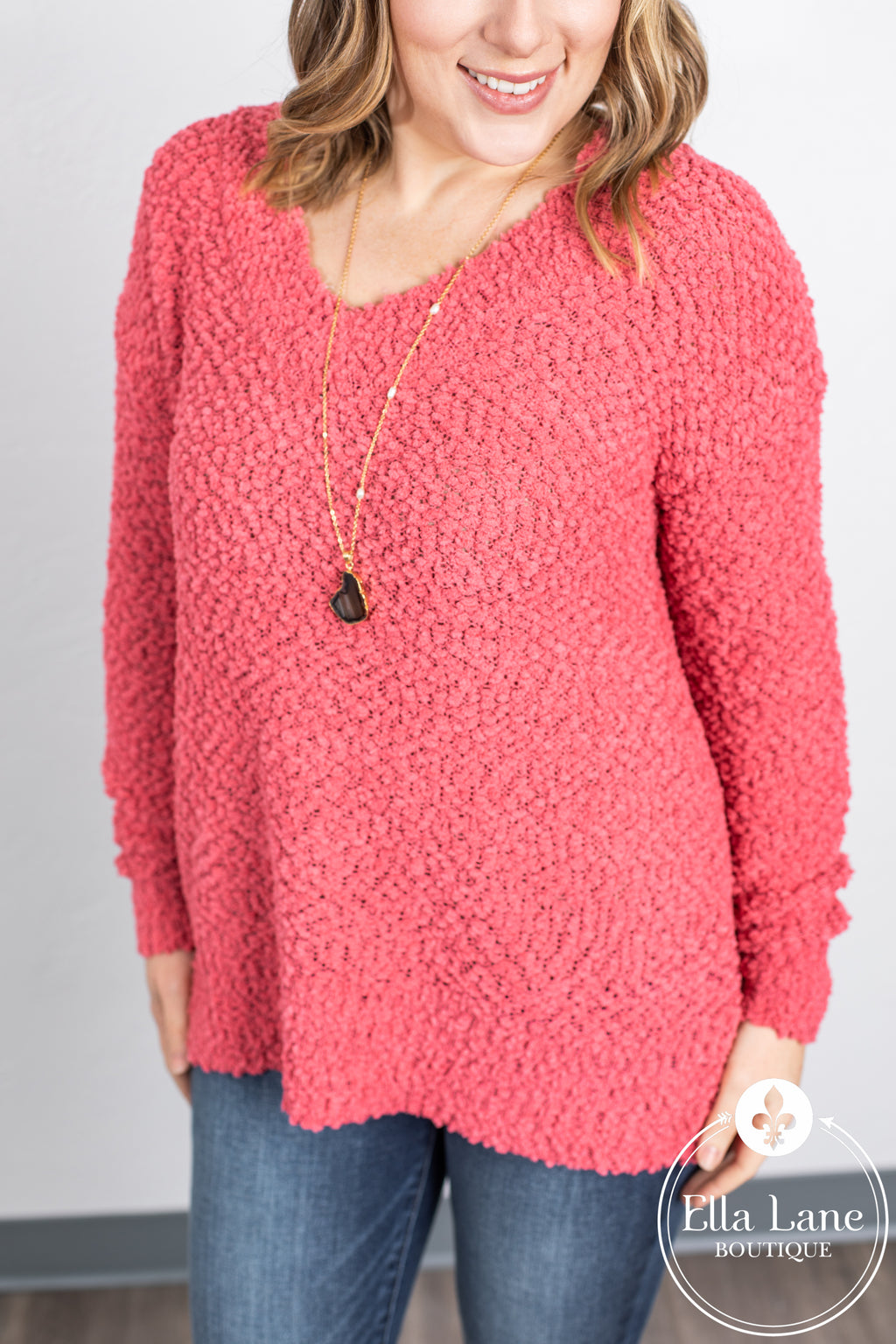 Popcorn V Neck Sweater - Rose
