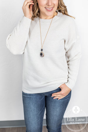 Avery Crew Neck Sweater - Bone FINAL SALE