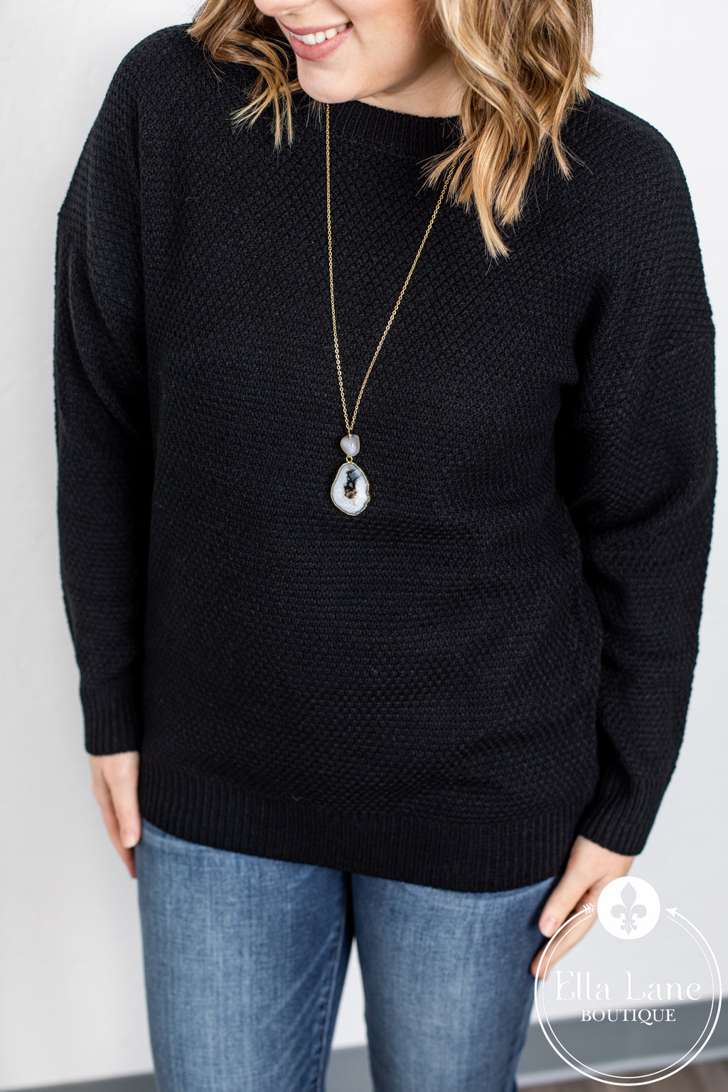 Avery Crew Neck Sweater - Black
