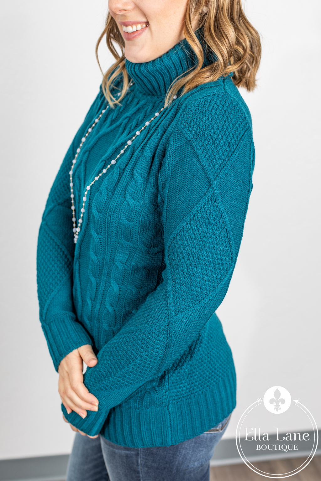 Cable Knit Sweater - Teal Blue