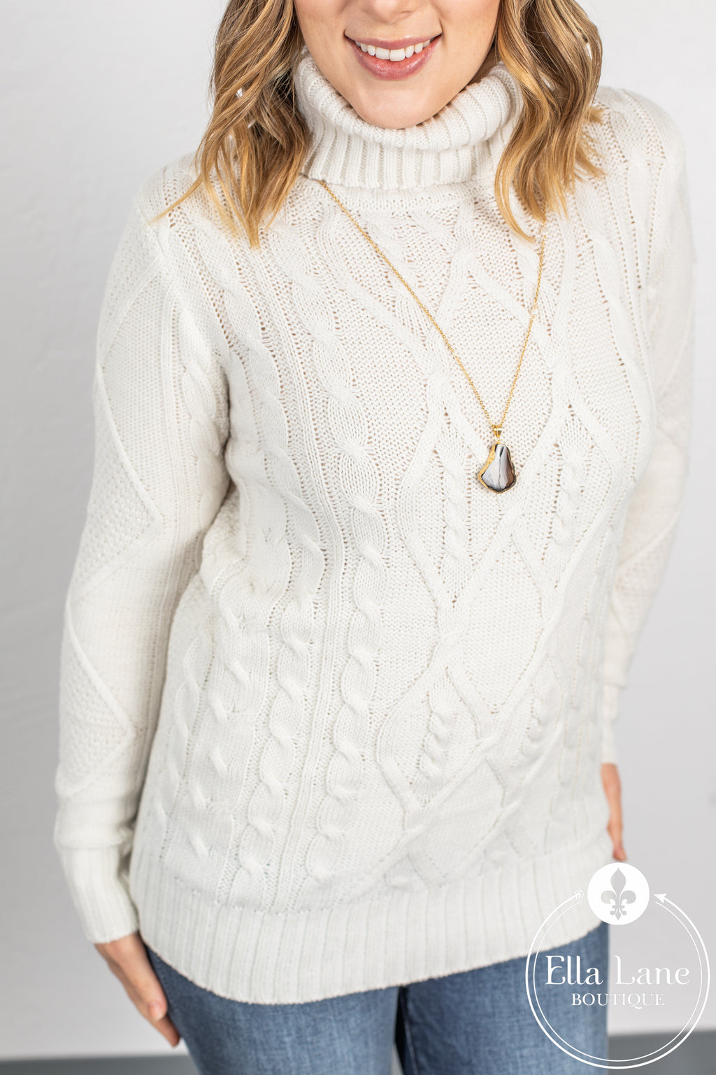 Cable Knit Sweater - Bone