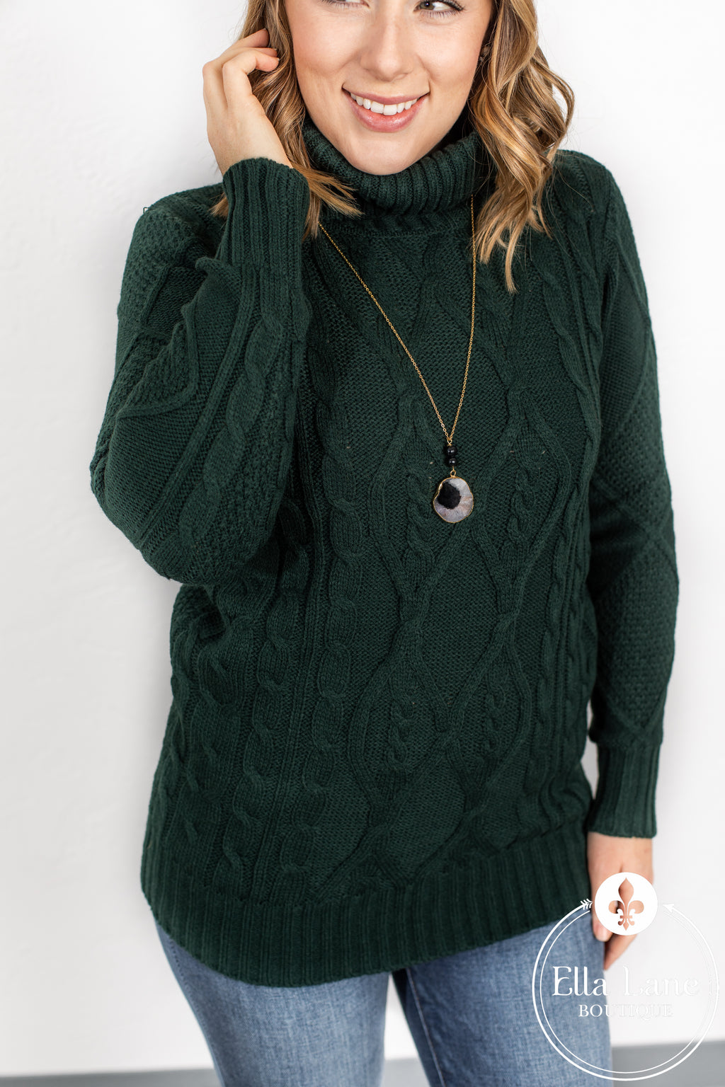 Cable Knit Sweater - Hunter Green