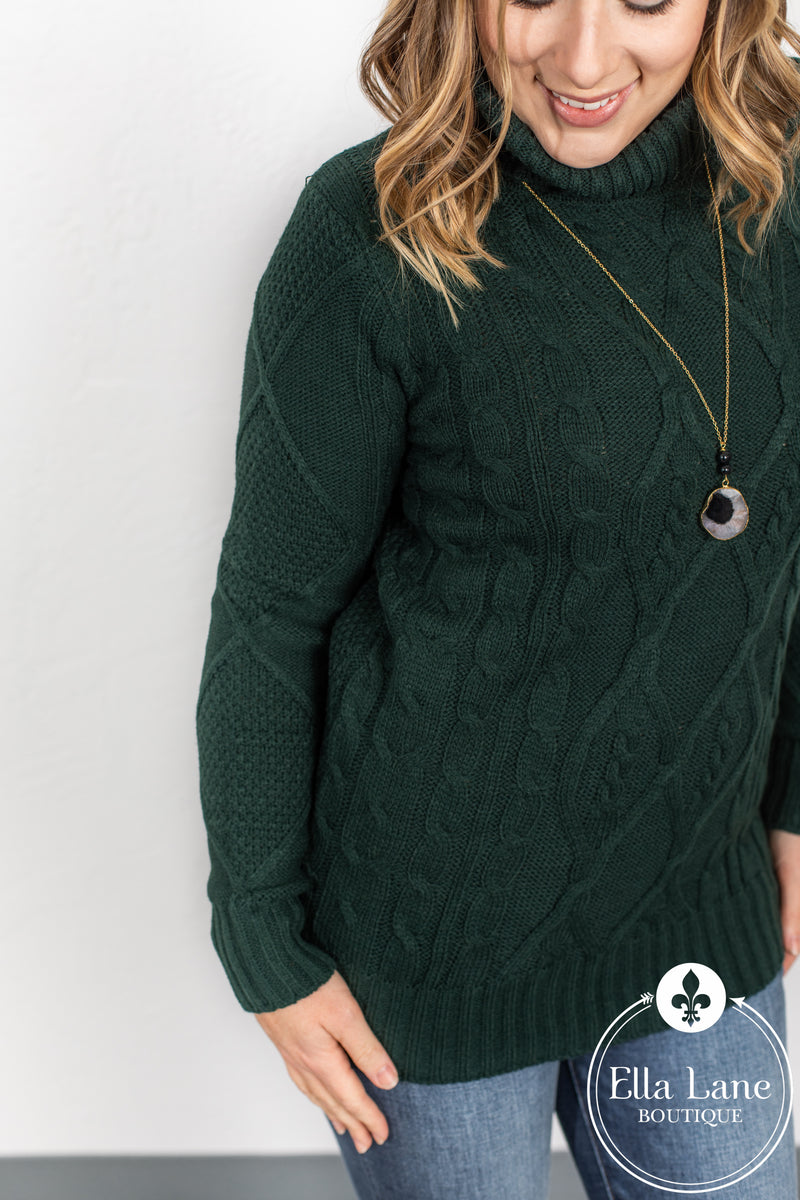 Cable Knit Sweater - Hunter Green FINAL SALE