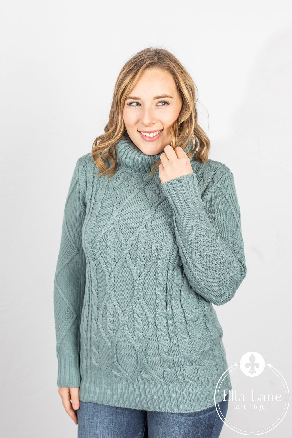 Cable Knit Sweater - Light Sage
