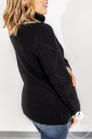 Cable Knit Sweater - Black FINAL SALE