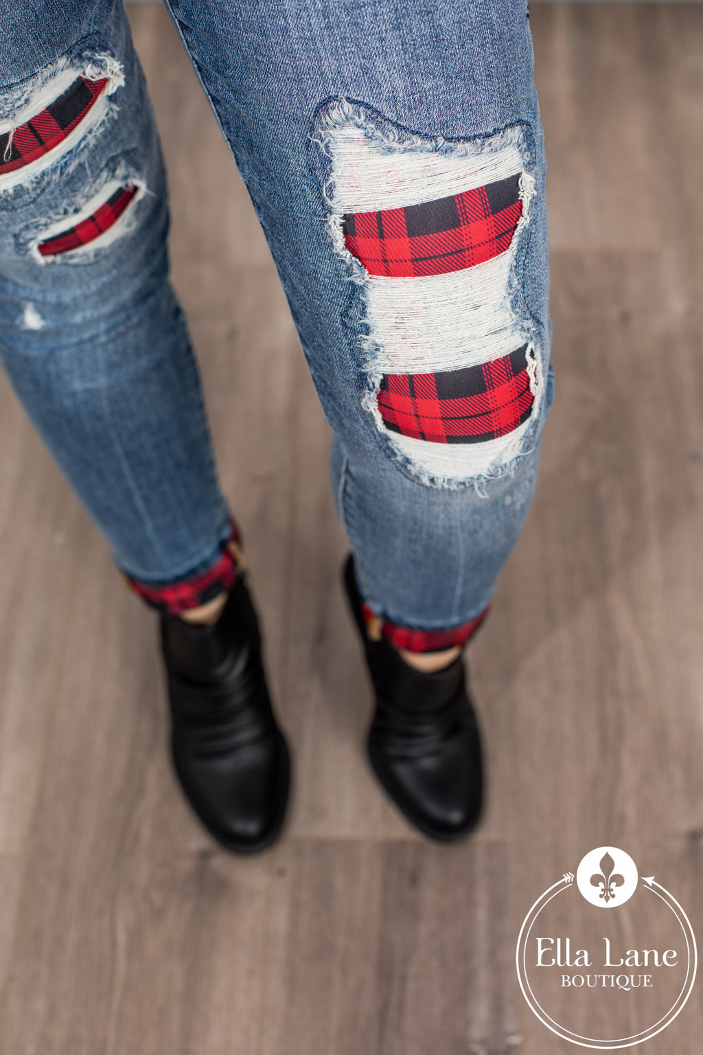 JB Buffalo Plaid Patch and Cuffed Skinny Jeans