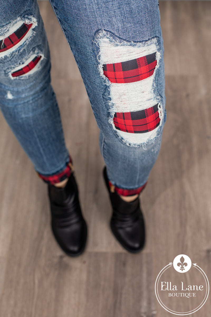 JB Buffalo Plaid Patch and Cuffed Skinny Jeans FINAL SALE