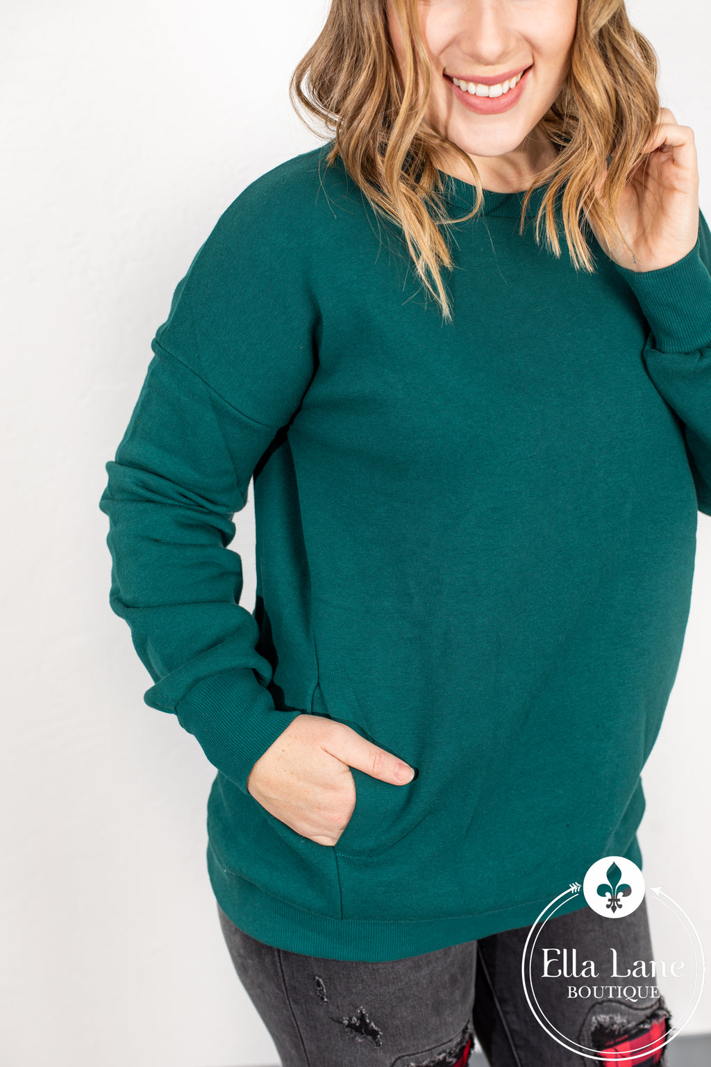 Crew Neck Pocket Pullover Sweatshirt - Deep Green