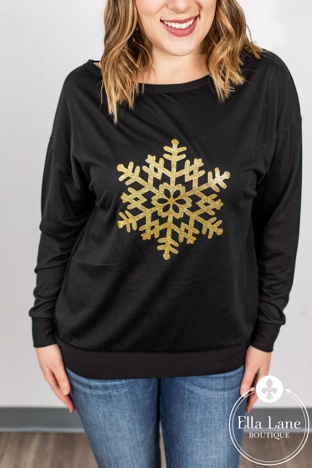 Snowflake Pullover Top - Black