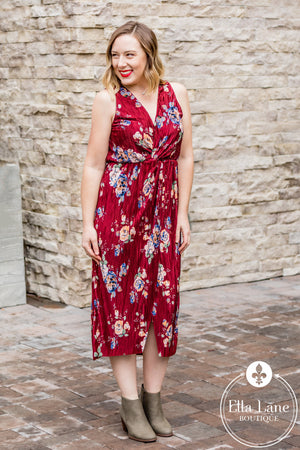 Burgundy Floral Crinkle Dress FINAL SALE