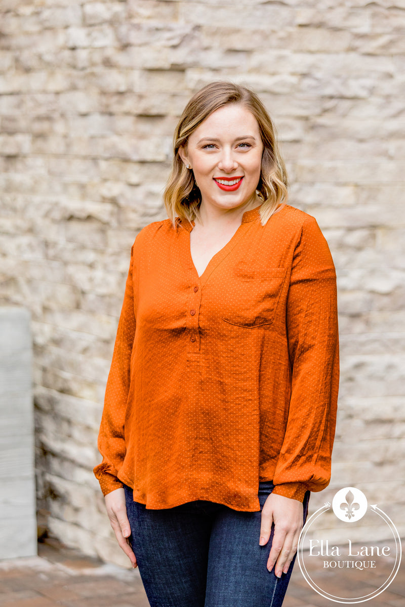 Textured Satin Blouse - Brick