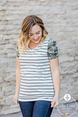 Michelle Mae Camo Accent Sleeve Tee