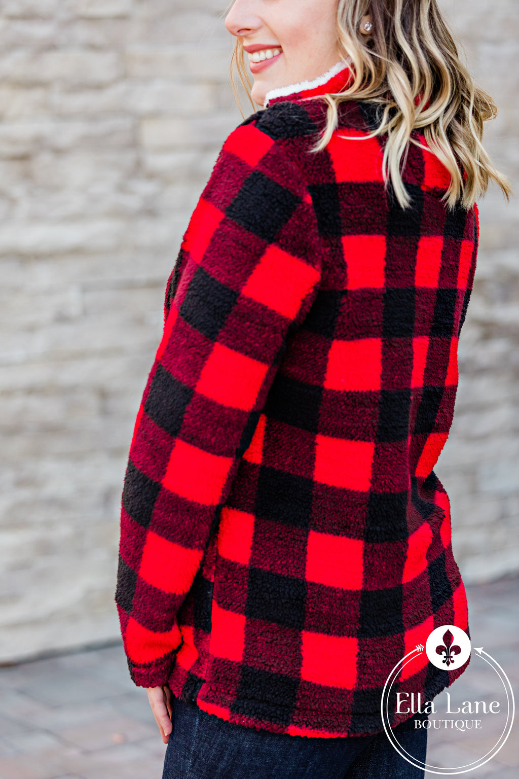 Buffalo Plaid Fleece Pullover