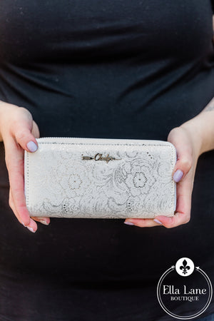DB Glitz and Shimmer Wallet - White FINAL SALE