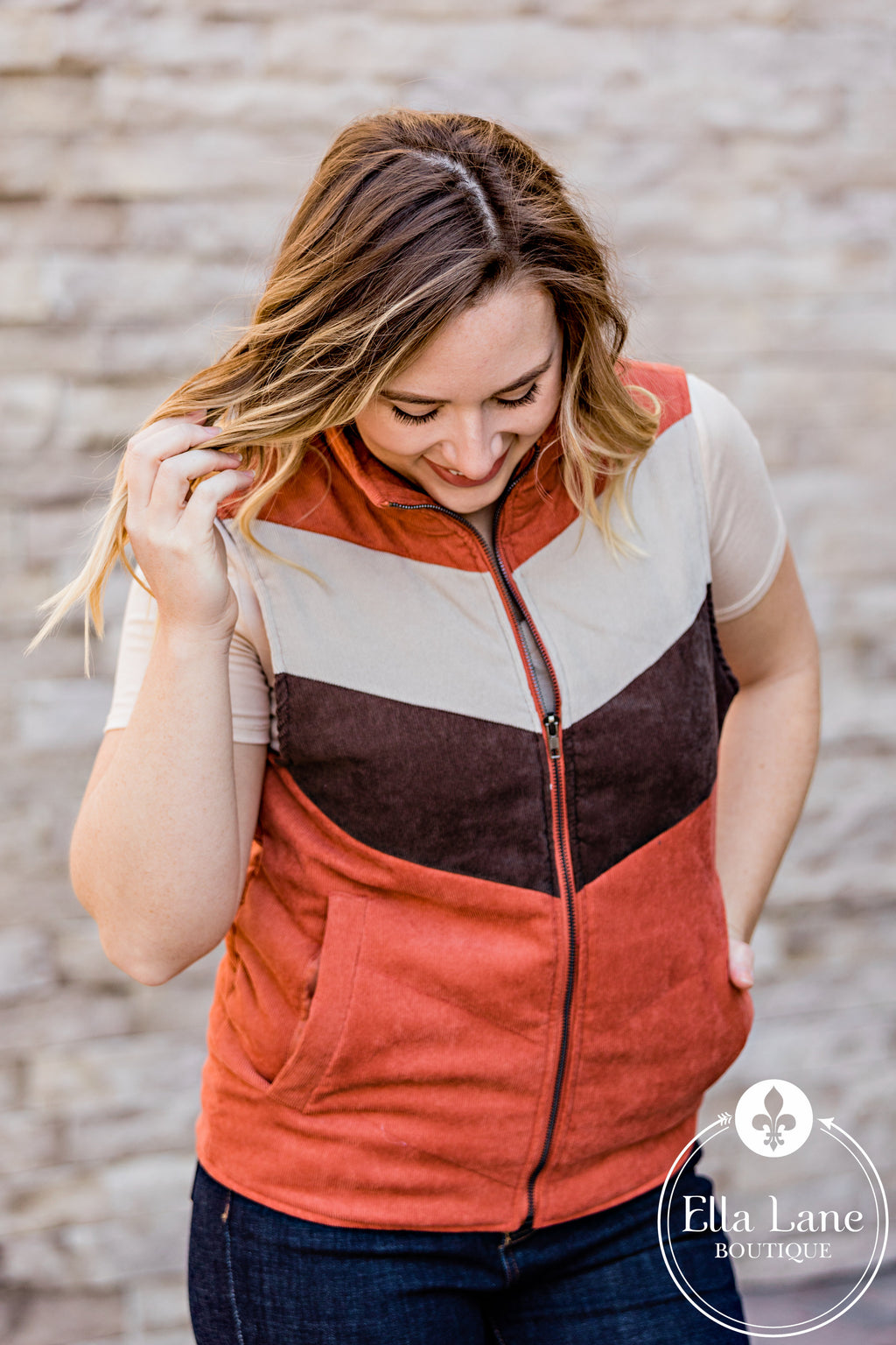 Copper and Brown Chevron Vest