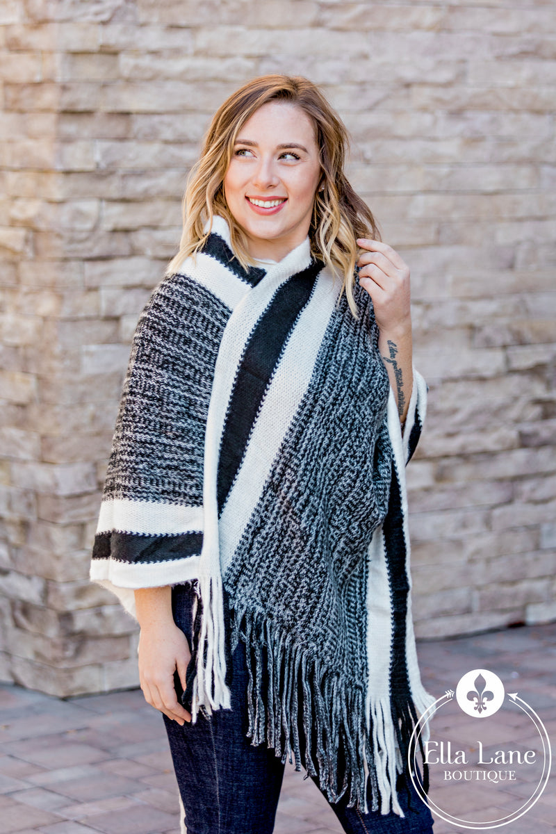 Black Stripe Poncho