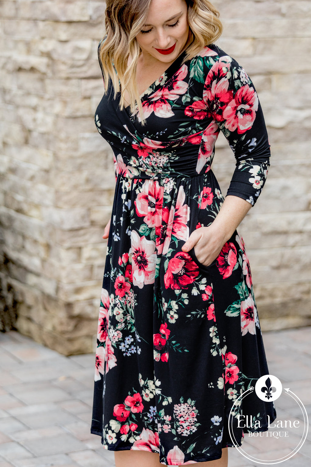 Melinda Black Floral Dress