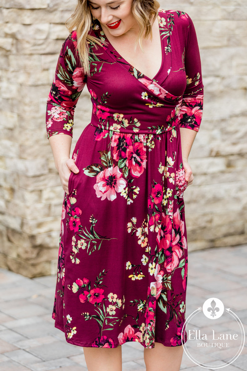 Melinda Plum Floral Dress