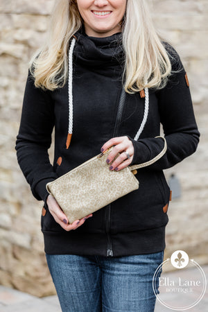 Cheetah Wristlet/Crossbody - Light Gold