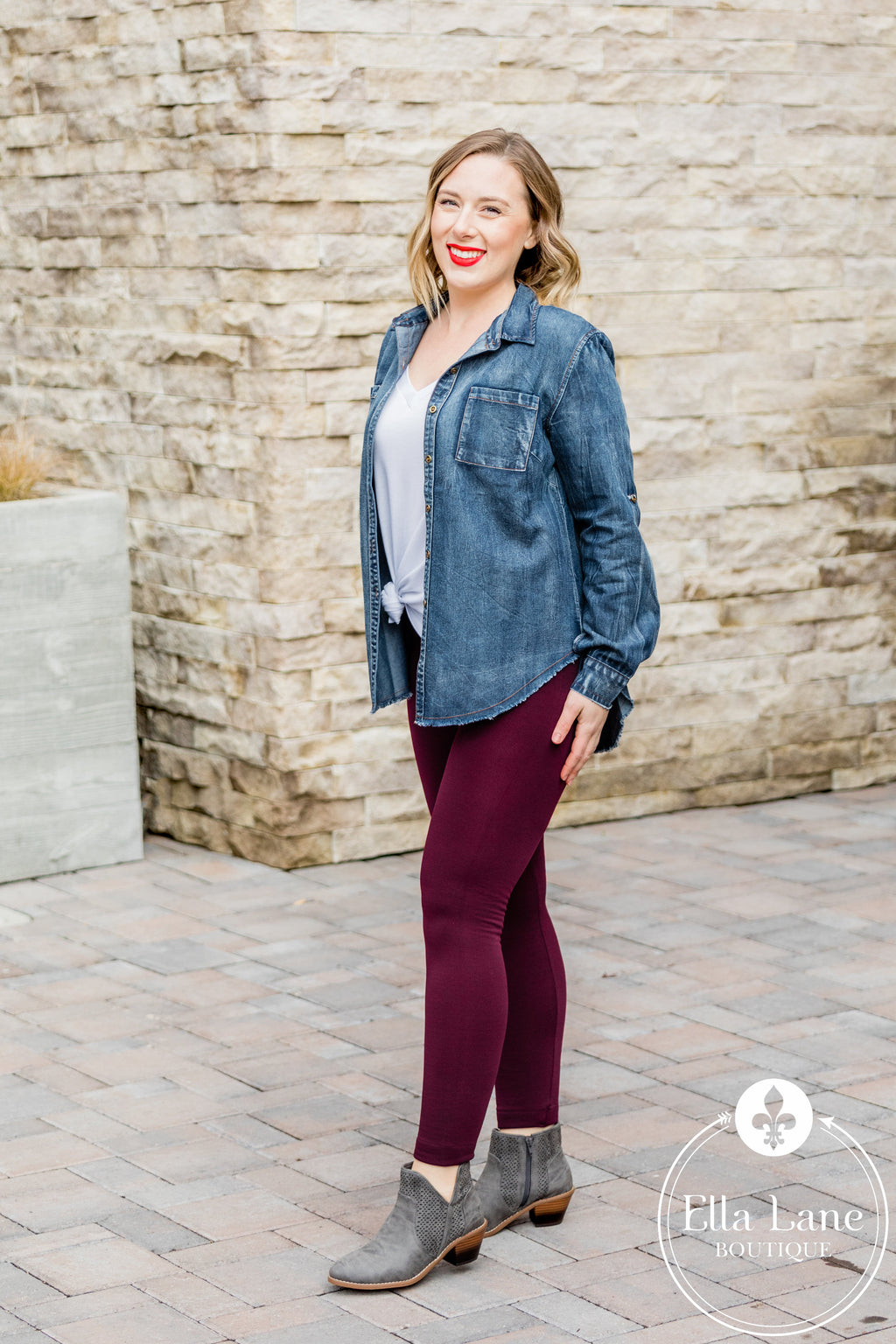 Fleece Tummy Control Leggings - Burgundy