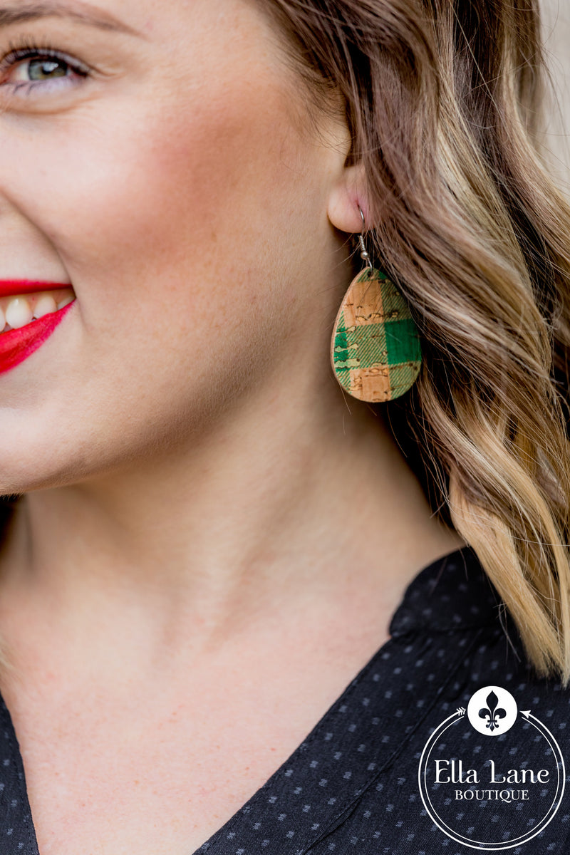 Green Plaid Cork Mini Earrings