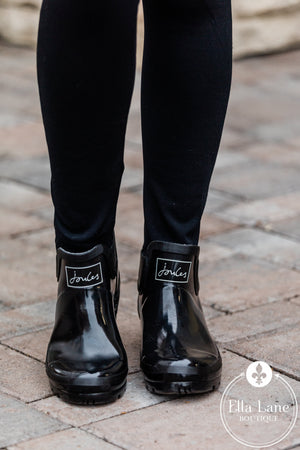 Wellibob Black Gloss Shortie Rain Boots