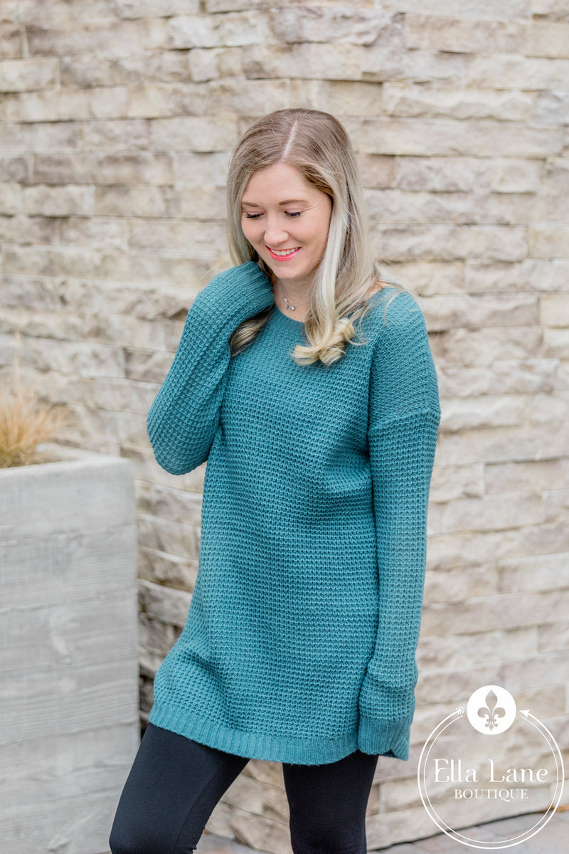 Tunic Waffle Sweater - Dusty Teal