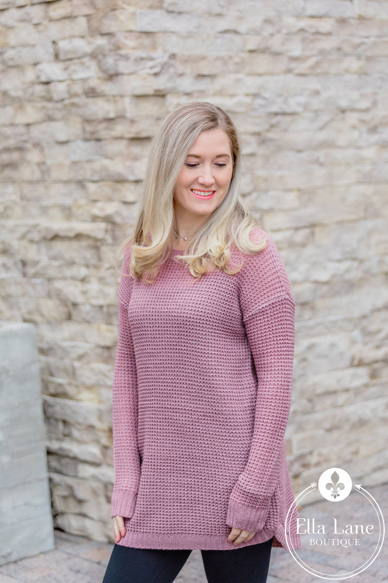 Tunic Waffle Sweater - Light Rose FINAL SALE