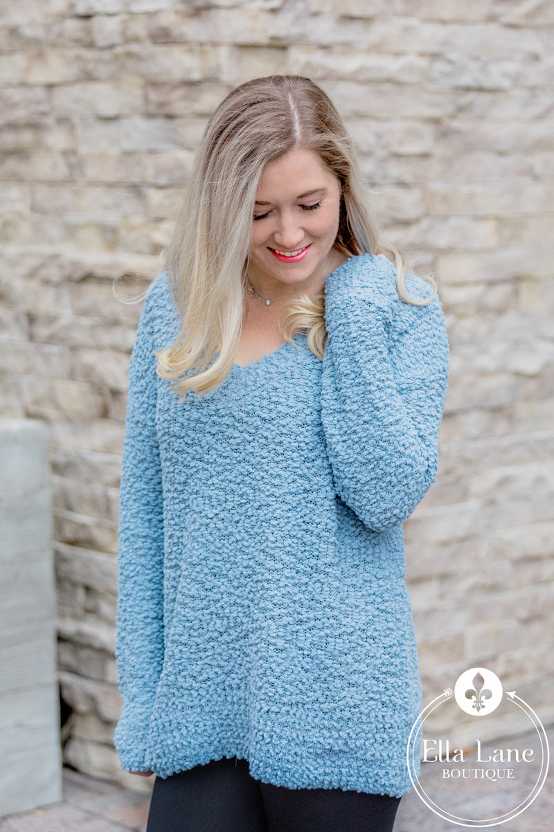 Popcorn V-Neck Sweater - Ash Blue