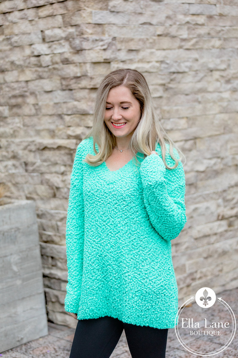 Popcorn V-Neck Sweater - Mint FINAL SALE