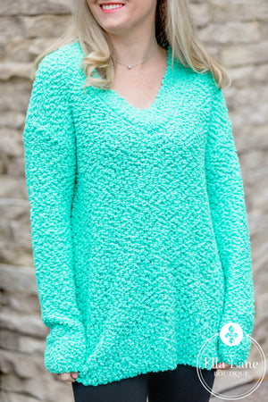 Popcorn V-Neck Sweater - Mint