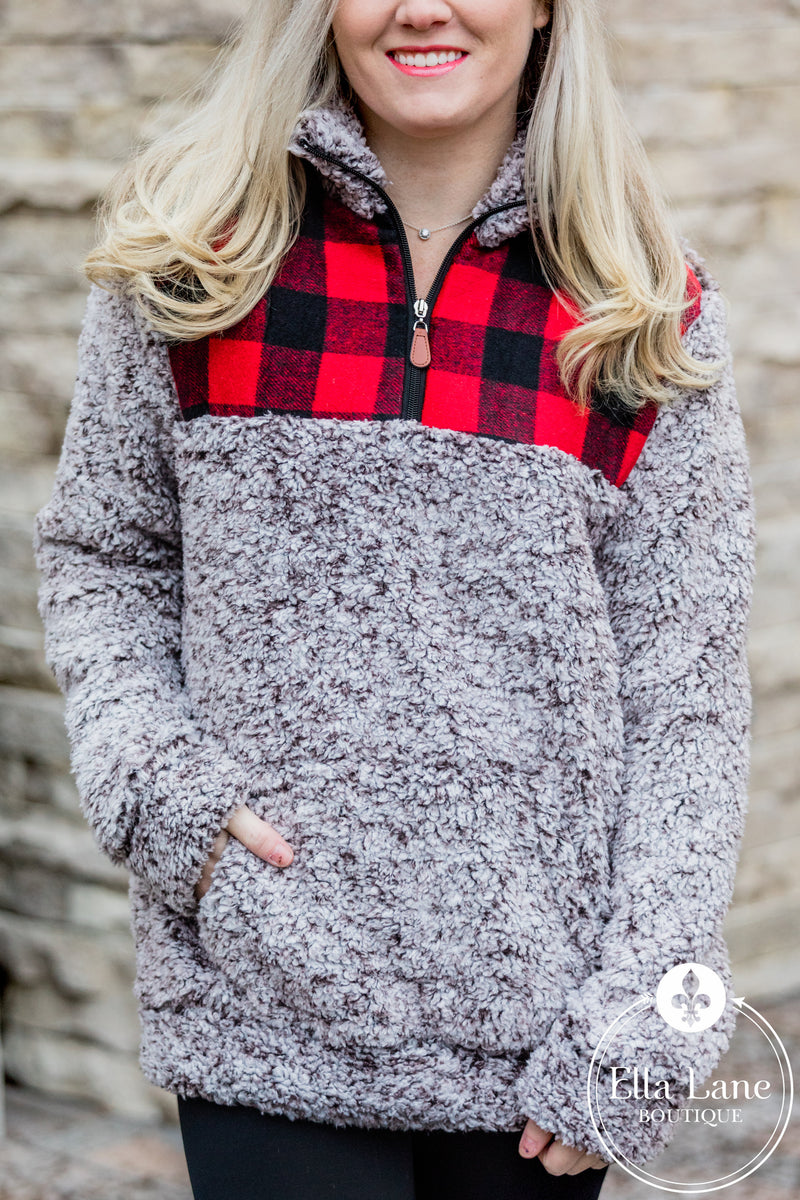 Buffalo Plaid Accent Sherpa Pullover